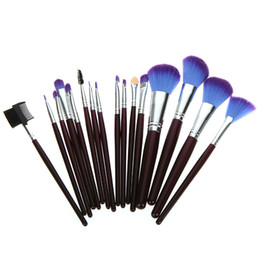 Wholesale 16PCS Purple Cosmetic Face Makeup Make Up Brushes GOAT Hair Makeup Sets with Leather Case Bag nude makeup brush H4450