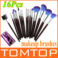 Wholesale 16PCS Purple Cosmetic Makeup Make Up Brushes GOAT Hair Makeup Set with Leather Case Bag H4450