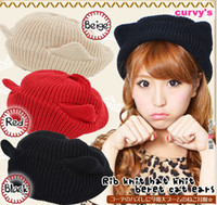 Wholesale hot sale girl s cap color cat ear wool knitted cap girl s ox horn knitting wool hat women s Cap