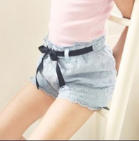 Baby girl kids children lace pants lace shorts rosette flora...