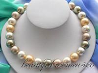 achat en gros de sea pearl-Beaux Bijoux en perles multicolores 14mm ronde mer sud 18inches collier de perles