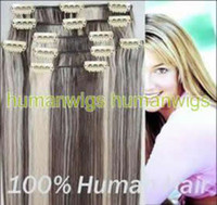 Wholesale 18 quot quot Fashion Clip in on Hair Extensions Human Hair Made Hair Extension set sets