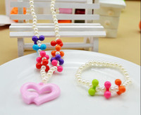 Wholesale New hot Children s jewelry Sets handmade Acrylic Bead Bauble charms stretch baby necklace bracelet