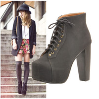 Wholesale Adorable Black Suede Trendy High Heel Platform Wooden Heel Boots Colors Comfortable Lace Up Boots
