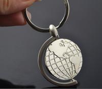 Wholesale Keychain Fun Earth rotating circular map modeling business Keychain logo