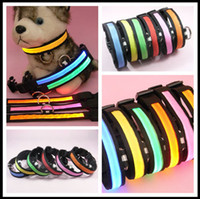 Wholesale 6colors LED flashing dog collar LED pet collar necklace cat collar freeshipping