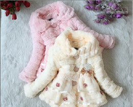 Wholesale Winter New baby girl s coats thick bowknot fur pearl jackets plush lace jacket
