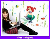 Wholesale mermaid wall stickers decals mural art wall sticker room decal wall stickers designs for kids room