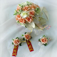 Wholesale Orange with green hand made rose flowers speical for bridal wedding days best wedding favors