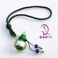 Wholesale Murano Glass Car Aroma Freshener Bottle Gourd perfume necklace pendant Aroma pendant glass bottles