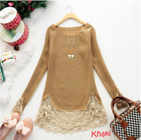 Wholesale New Slim Vintage Lace Hem Sweater Stitching off Two Knitting Wool Long sleeve girl s Sweater