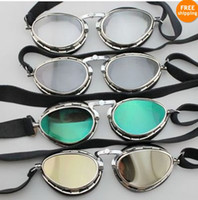 Wholesale Steampunk Style Pilot Motorcycle Scooter ATV Goggle Eyewear T02 Four Lens Color