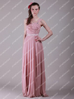 2014 Free shipping New Long Pink Chiffon Evening Gowns Lace ...