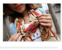 Wholesale NRetro style carriage chain pattern HOT scarf lady velvet chiffon scarf scarves color