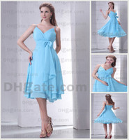 Wholesale 2013 Sexy Bridesmaid Dresses Spaghetti Pleat Bow Chiffon Tea Length Summer Beach Prom Dresses