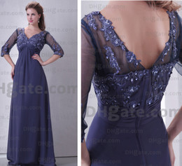 Wholesale elegant beaded soft v neckline appliqued pleated ruffle chiffon mother of bride dress FJ