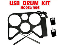 Wholesale 2012 New hot USB MIDI DRUM KIT MD1003 Musical instrument Portable MIDI Drum USB Drums