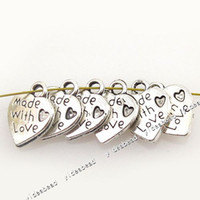 Wholesale 300pcs Heart Shpae Vintage Charms Pandents silver Plated Charms pendants Beads