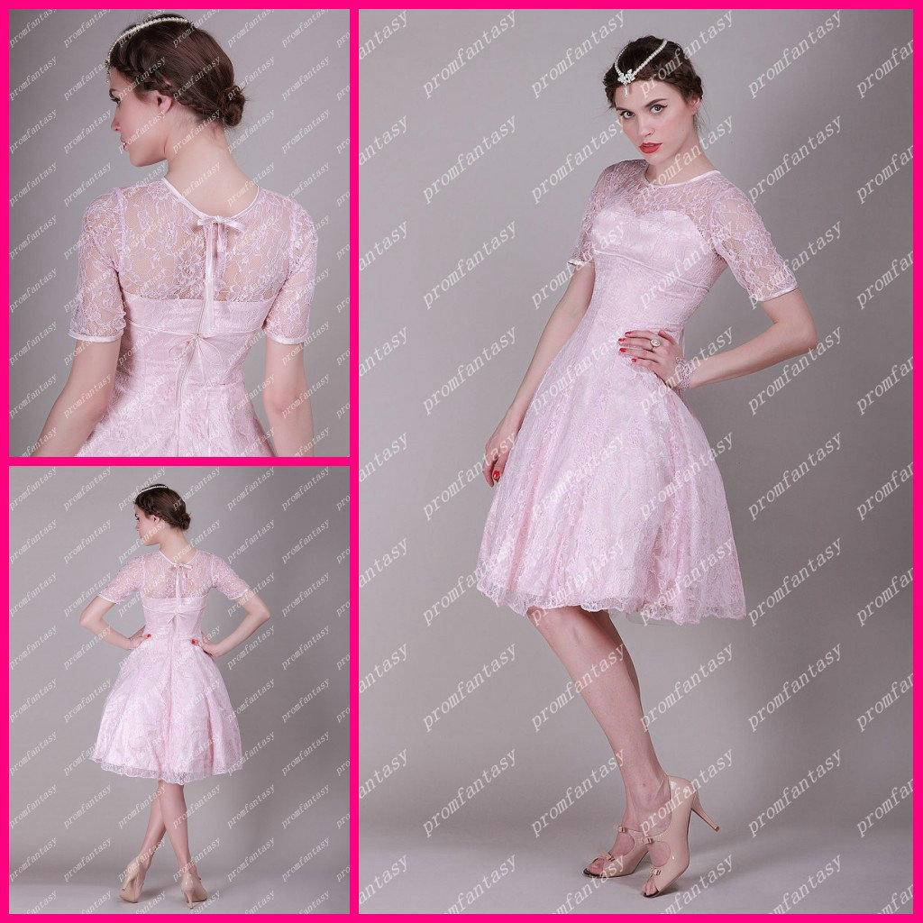 2013 New Elegance Pink Lace Ball Gown Knee Length Sheer Short ...