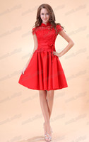 Wholesale Exquisite Red Lace and Satin Short Sleeves Chinese Style Prom Dress Knee Length Party Cocktail Gowns