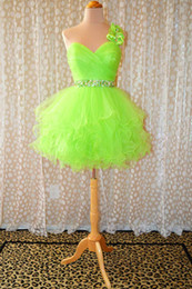 Wholesale New Style Sexy One Shoulder Lime Neon Short Ball Gown Party Prom Dresses Gowns