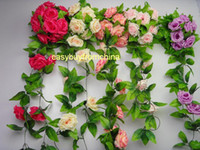 large silk flowers - 5 artificial silk rose flower garlands Each with large roses wedding home party decoration