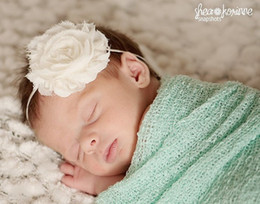 Wholesale 10colors quot Shabby Frayed Chiffon Flower Narrow Band for baby Baptism and Photo Headband