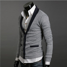 Wholesale 1576 New Men s Premium V lapel Stylish Slim Button Mixed colors Sweater Size M L XL