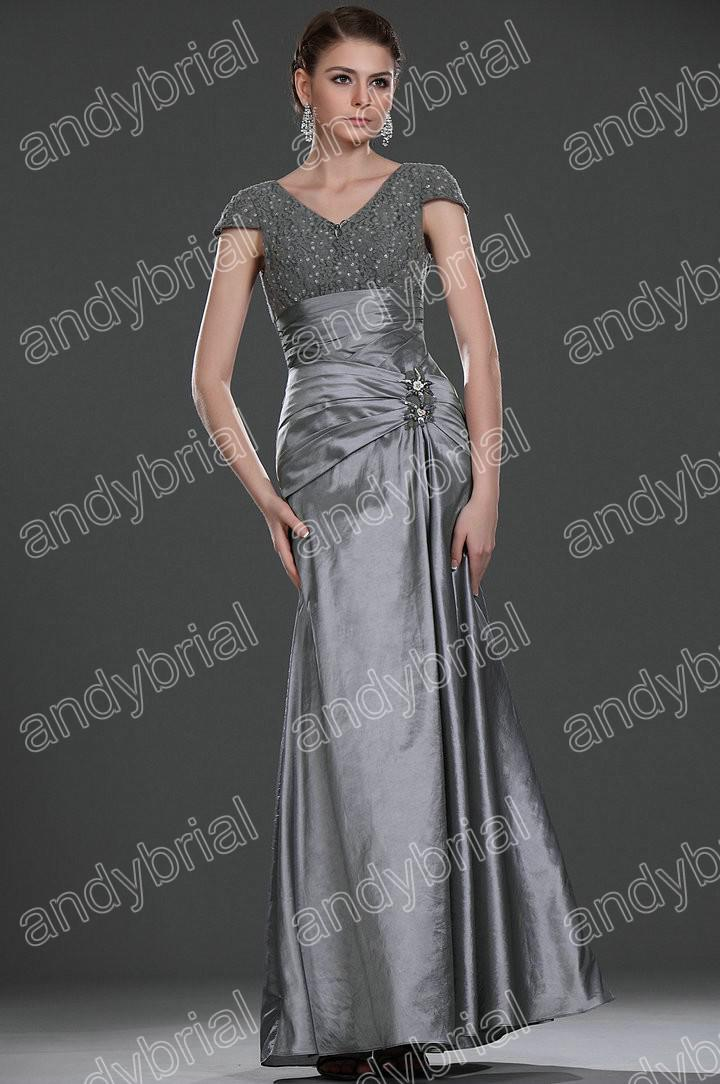 Good Selling 2015 Trends V Neck Silver Evening Dresses Formal ...