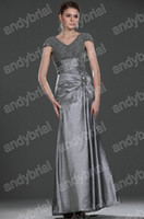 Wholesale Good Selling Trends V neck Silver Evening Dresses Formal Beaded Prom Party Gowns For Night New