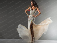 Wholesale Prom Dresses Sexy V Neck Beaded Crystals BlingBling Floor Length Formal Evening Dresses C21