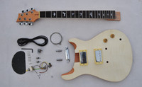 Wholesale DIY Guitar kit Custom Unfinished Electric Guitar Luhier Builder Kit Flame Maple Top