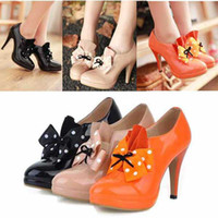 Wholesale New woman bow tie apiculiform Hight heel Shoes platform Shoes Size Orange Black Beige
