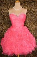 Actual Images Organza Sweetheart New Stle Coral Short Homecoming Dresses Sweetheart Beads Corset Lace Up Custom Made Prom Dress Gowns