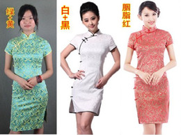 Wholesale Chinese Cheongsam Women s Summer Mini Dress High Neck Short Sleeved Prom Evening Cocktail Party