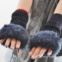 Wholesale Diamond twist yarn gloves female dew refers to imitation lovely rabbit hair grows warm gloves