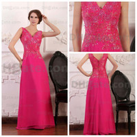 Wholesale Factory OEM a line v neck embroidery sequins hot pink chiffon Floor Length Evening Dresses n380