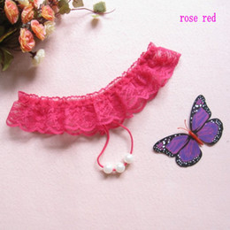 6860#Woman's Fashion Sexy Panties G-String Top Quality lingerie Lace pearl T-shaped pants 20pcs