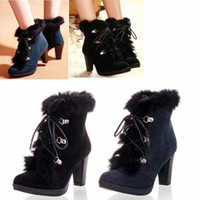 Half Boots boots ladies boots - Winter Woman Lady hight Heel Platform Boot shoelace Boots fashion Wool shoes Size color