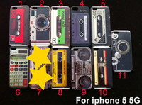 Wholesale Hard Plastic Tape Cassette Case for iphone G Mix Camera Tape Recorder Calculator Back Cases