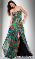 Wholesale Customized Fashion Sweetheart Peacock Green Pattern Print Chiffon Prom Dress Colourful Evening Dress