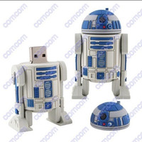 Wholesale 10pcs GB Star Wars R2 D2 Robot cartoon USB Flash Memory Pen Drives Sticks Disks Pendrives