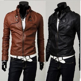 Wholesale NEW Men s Sexy PU Leather Top Designed Locomotive Short Jacket Coat Slim M XXL