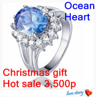 Wholesale 30 sterling silver rings Heart of the ocean Diana style blue diamond Plating platinum Y8811
