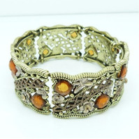 Wholesale Bohemia bracelet vintage hollow out flower setted crystal bangles