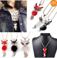 Wholesale Fashion Black White Red Enamel Crystal Rhinestone Fox Necklace Christmas Gift F254A C M