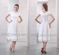 Wholesale Glamorous modest white bateau with short sleeve tea length special occasion dress bridesmaid dress