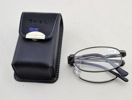 Wholesale 12pcs High quality Metal foldable reading glasses with leather Case