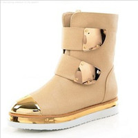 Wholesale new arrival female winter nightclubs Noble metal sequins snow tendon ankle boots EU35