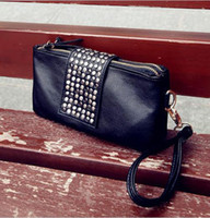 Wholesale Special offer Korean Style PU Leather Handbag Rivet Lady Clutch Purse Wallet Evening Bag